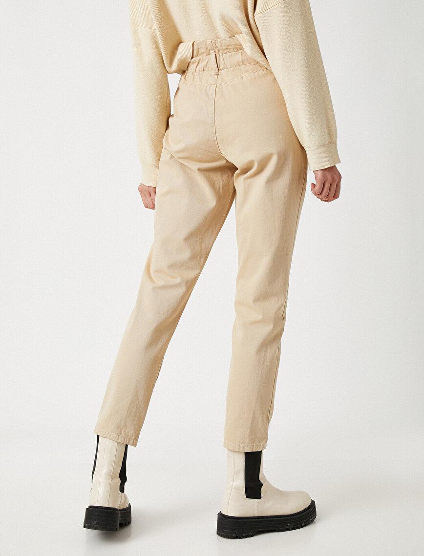 Cep Detaylı Yüksek Bel Düğme Detaylı Pantolon