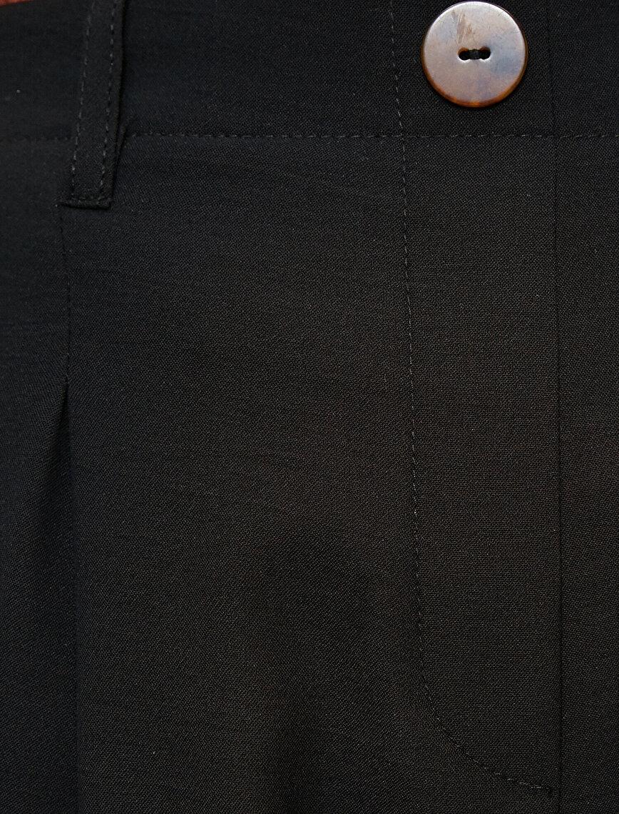 Pileli Cepli Yüksek Bel Pantolon