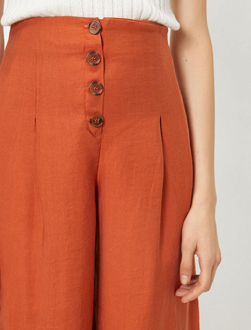 Button Detailed High Waist Trousers