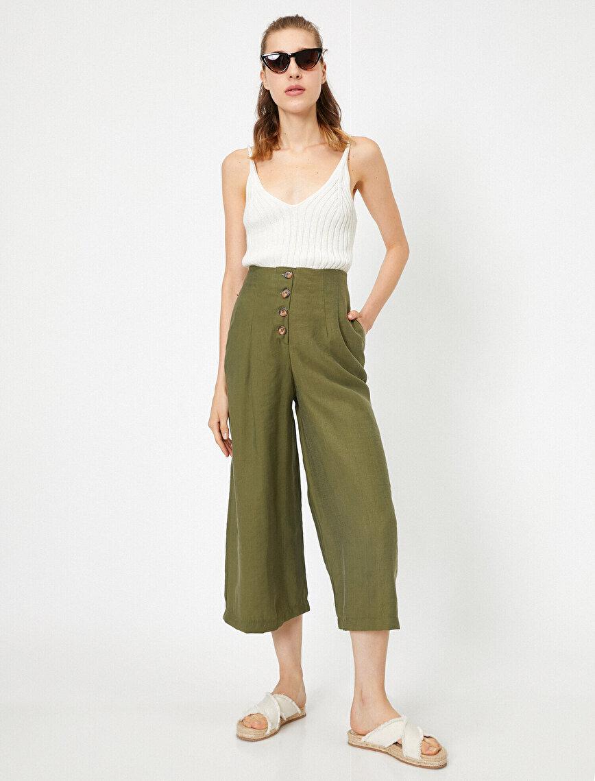 Düğme Detaylı Yüksek Bel Pantolon
