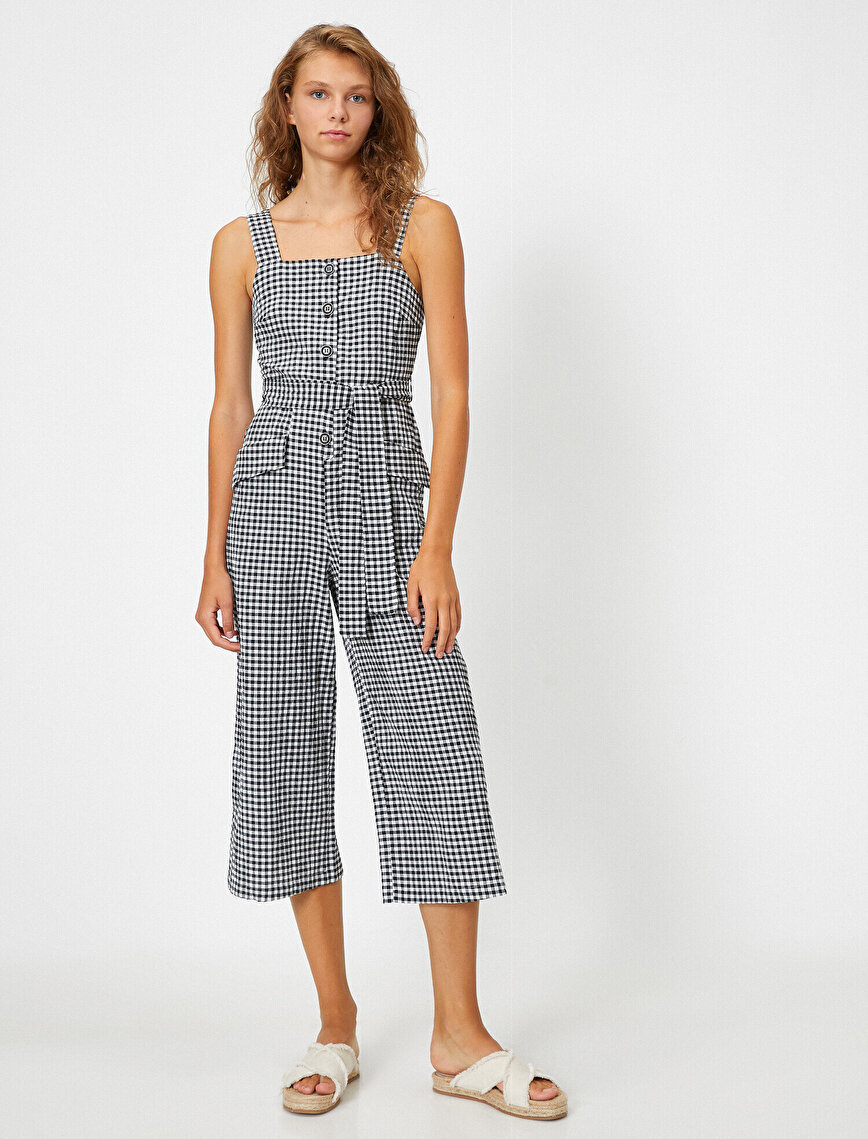 Checked Pocketed Belted Jumpsuit