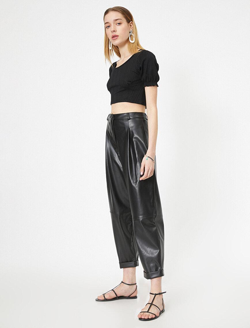 High Waist PU Trousers