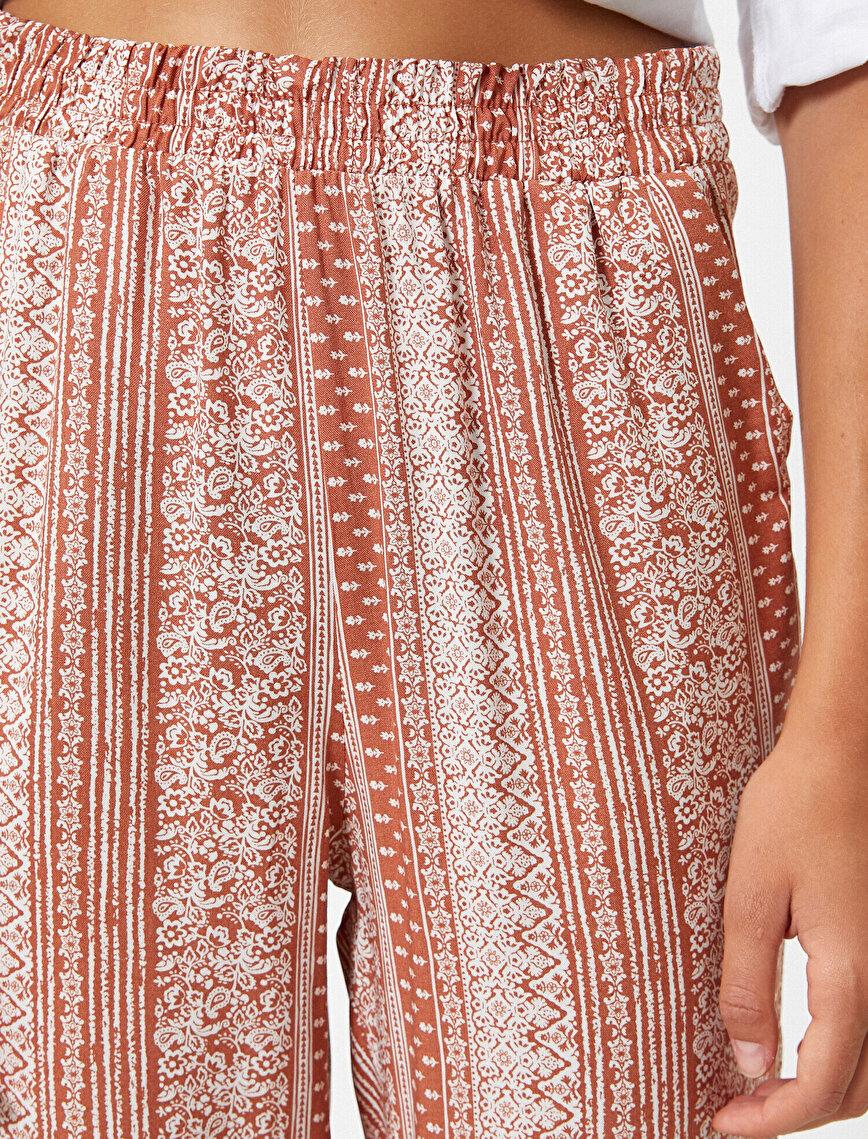 Yüksek Bel Etnik Desenli Pantolon
