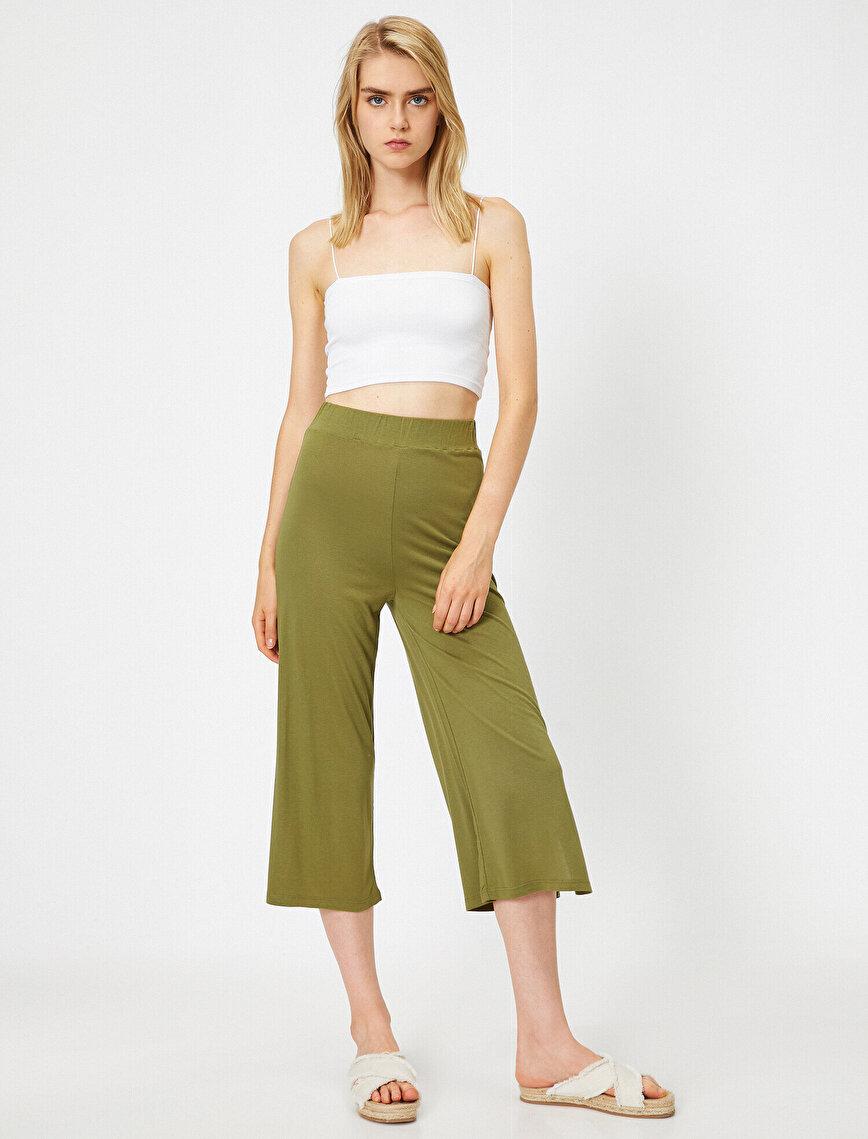 Yüksek Bel Crop Paça Pantolon