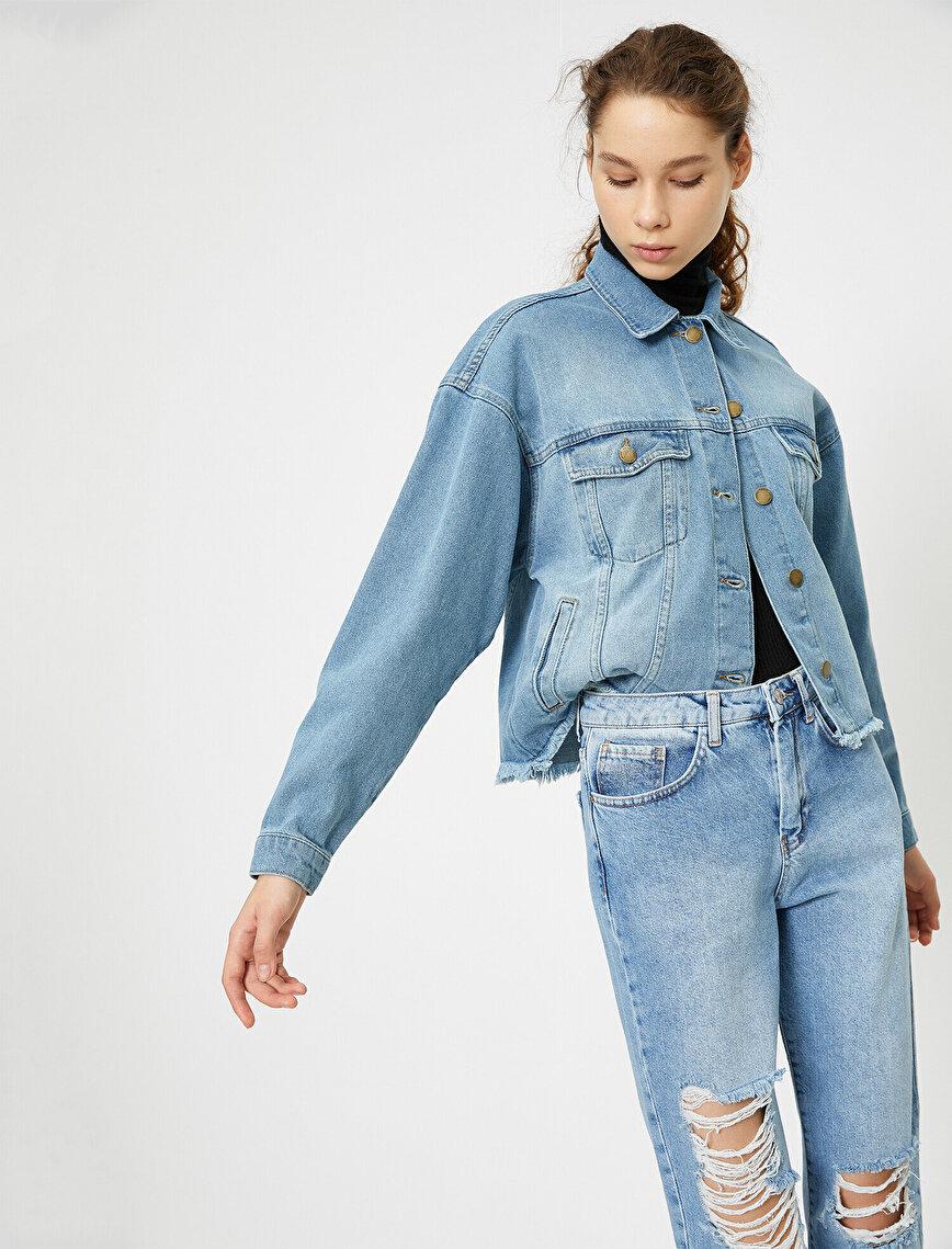 Cep Detaylı Jean Ceket