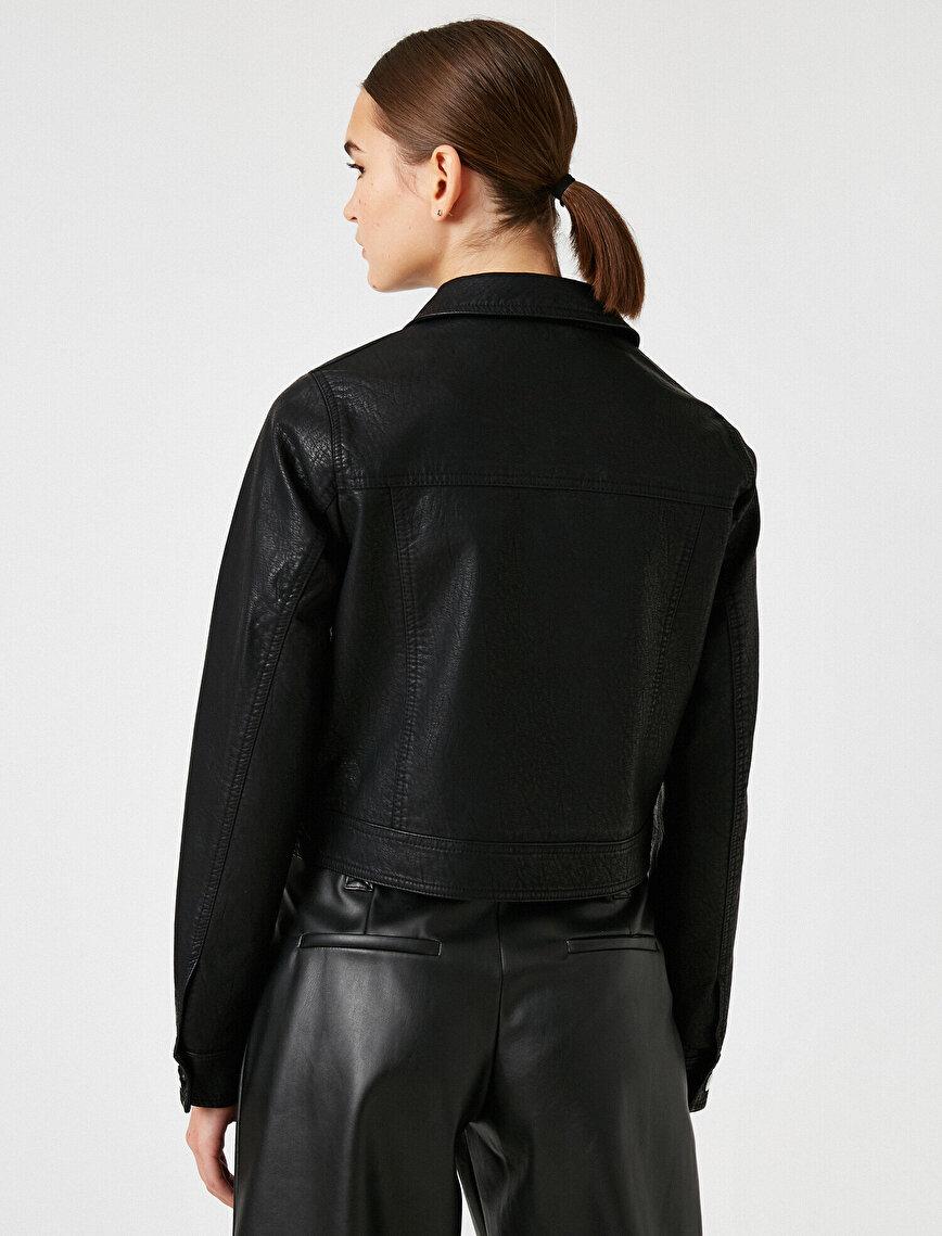 Kısa Deri Görünümlü Ceket