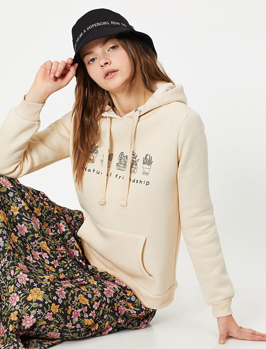 Kapüşonlu Çiçek Baskılı Kanguru Cepli Sweatshirt