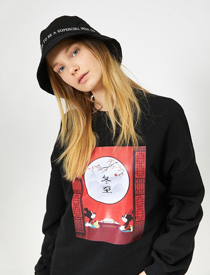 Mickey & Minnie Baskılı Lisanslı Sweatshirt