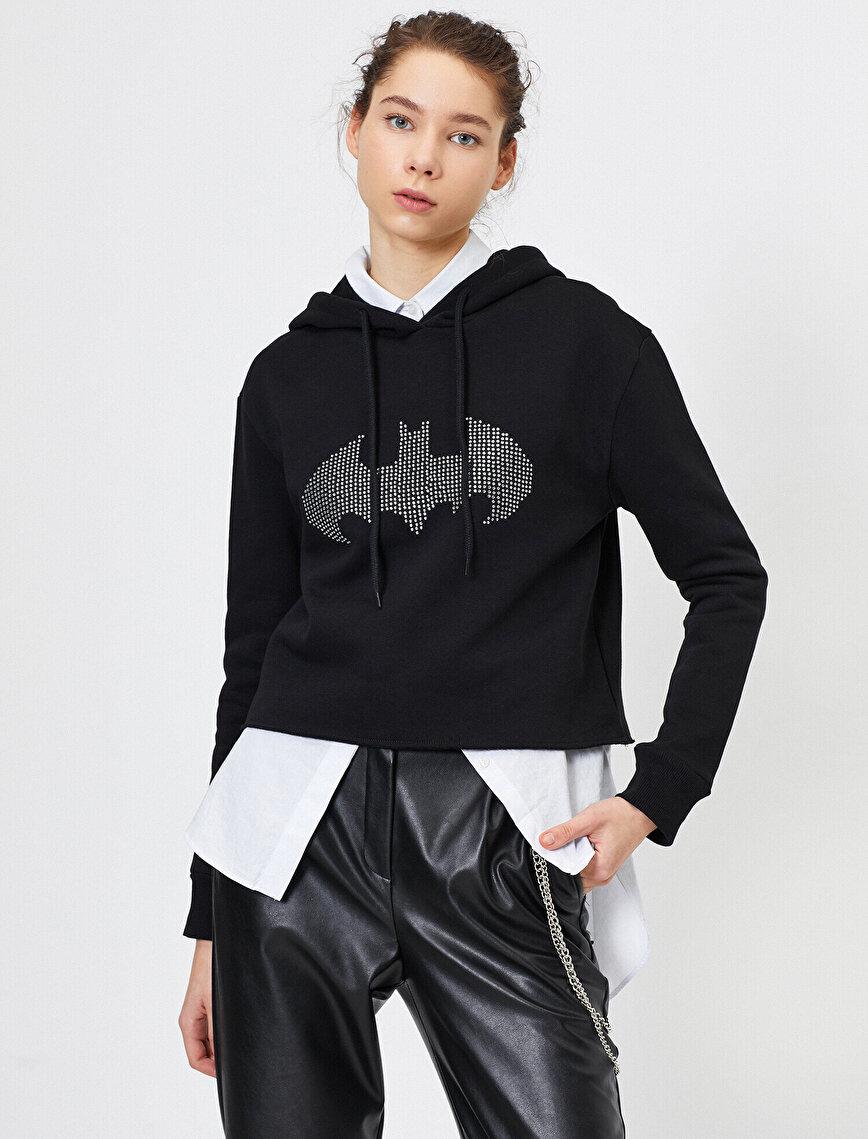 Batman Lisanslı Taşlı Sweatshirt