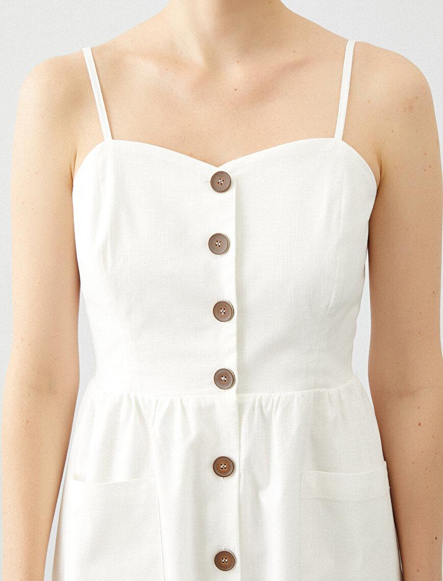 Askılı Cepli Düğmeli Elbise
