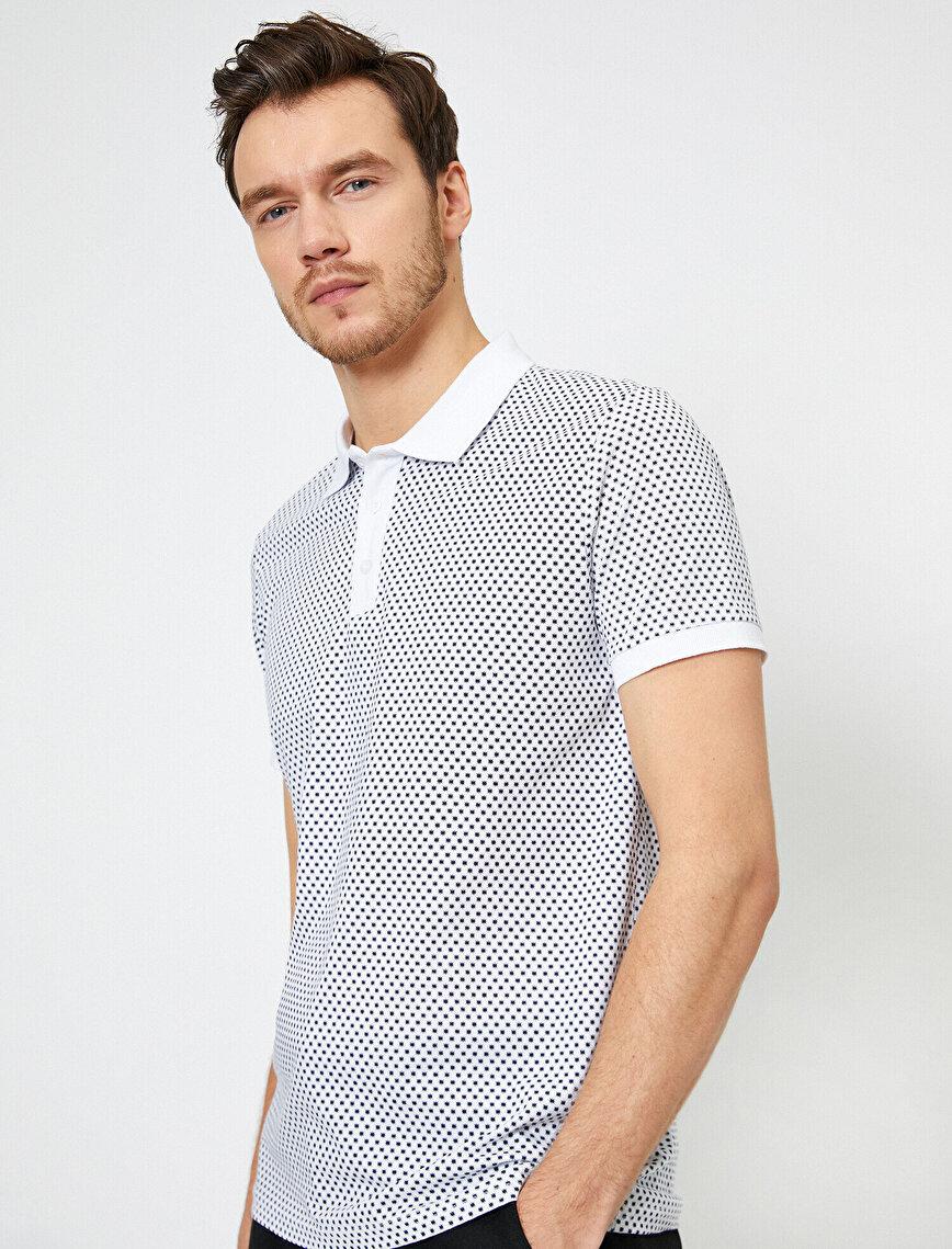 Polo Yaka Geometrik Desenli Slim Fit Tişört