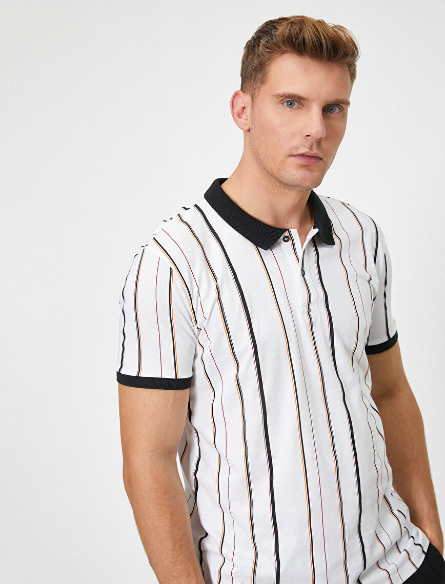 Polo Neck Short Sleeve Striped T-Shirt