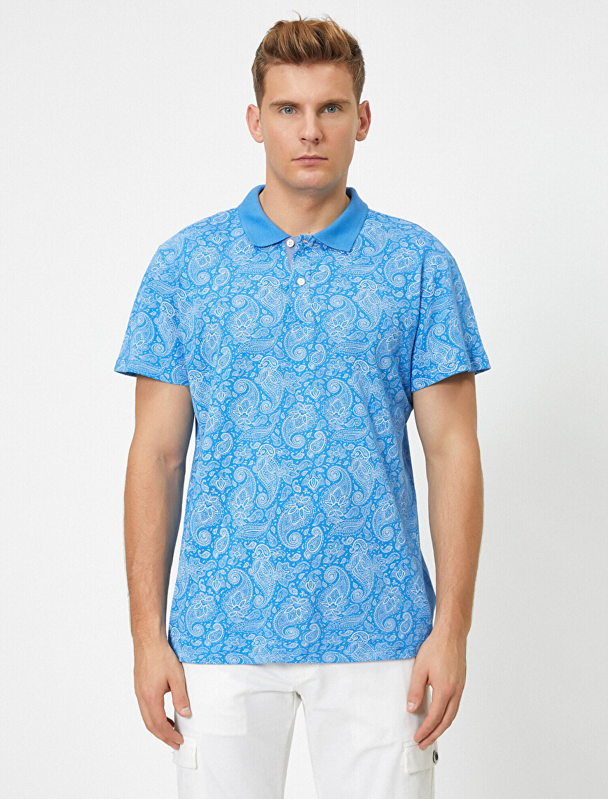 Polo Neck Patterned Short Sleeve T-Shirt