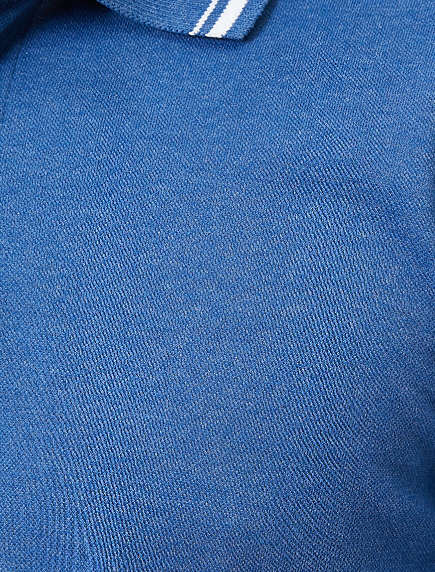 Polo Yaka Kol ve Yaka Ucu Çizgili Slim Fit Tişört
