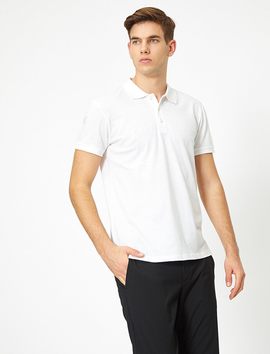 Polo Yaka Dokulu Kumaş Slim Fit Basic Tişört