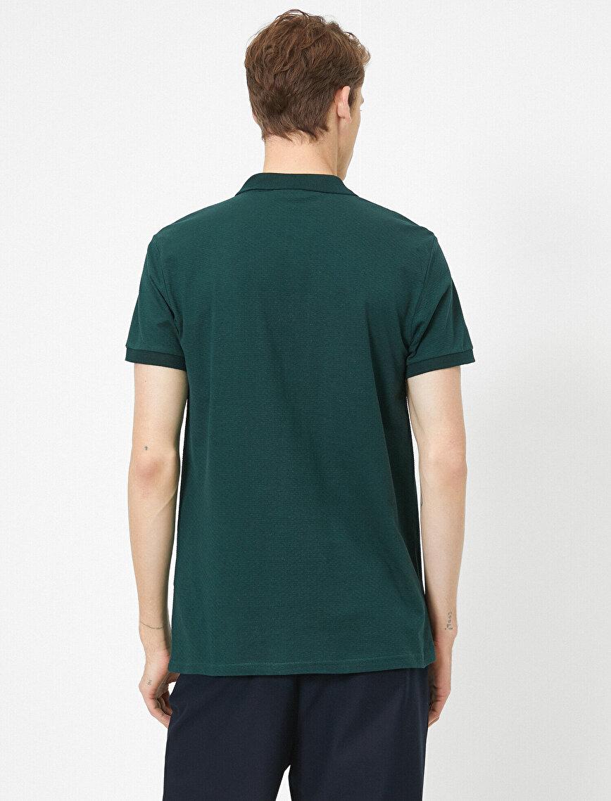 Polo Yaka Dokulu Kumaş Slim Fit Basic Tişört