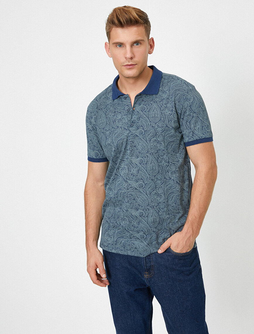 Slim Fit Polo Neck Short Sleeve Paisley T-Shirt