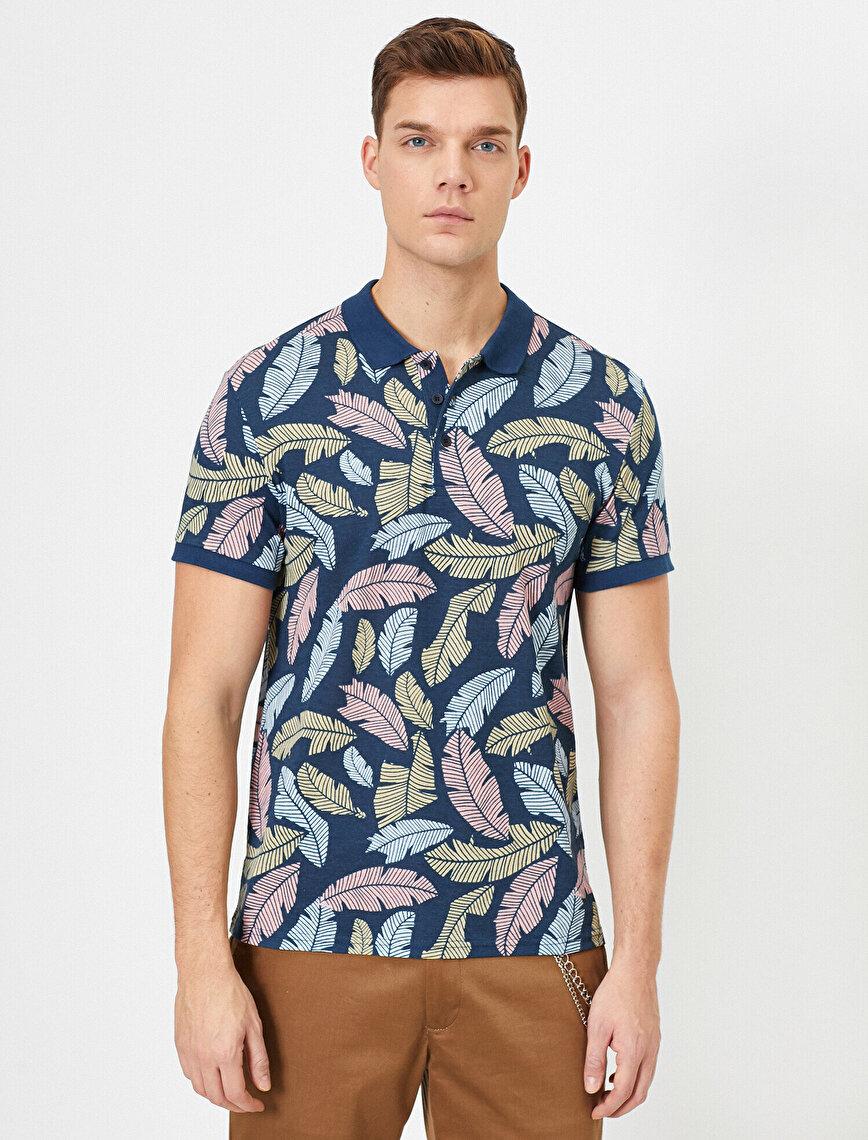 Polo Yaka Yaprak Desenli Pike Kumaş Slim Fit Tişört