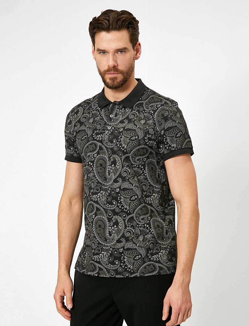 Polo Neck T-Shirt Patterned Cotton Slim Fit