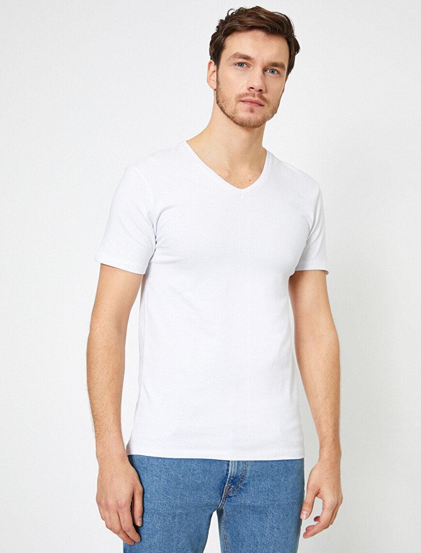 V Yaka Esnek Kumaşlı Süper Slim Fit Basic Tişört