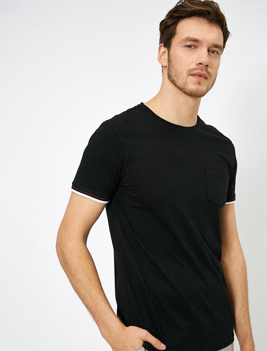 Bisiklet Yaka Kolları Şeritli Cep Detaylı Slim Fit Tişört
