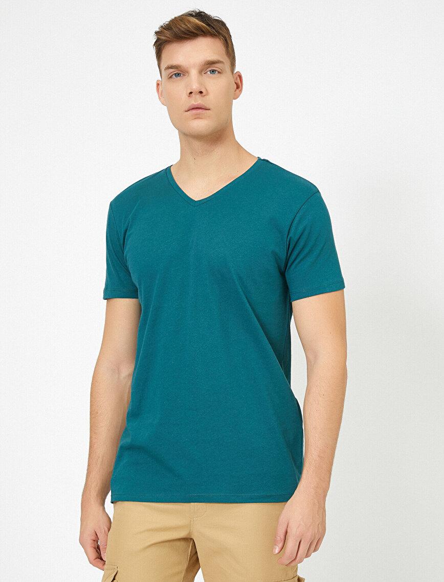 V Yaka %100 Pamuk Slim Fit Basic Tişört