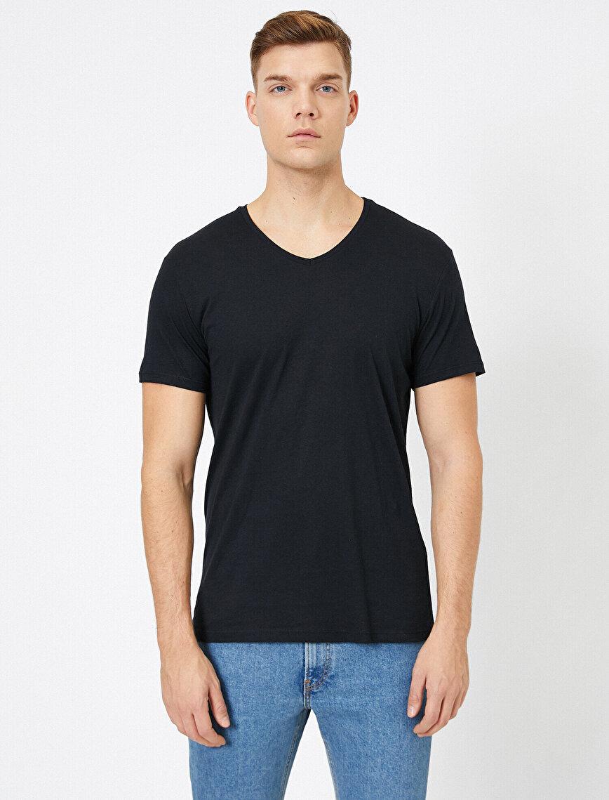 V Yaka Pamuklu Slim Fit Basic Tişört