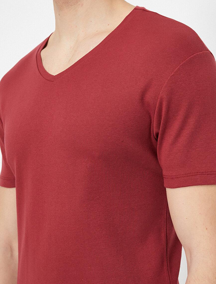 V Yaka Likralı Esnek Kumaşlı Slim Fit Tişört
