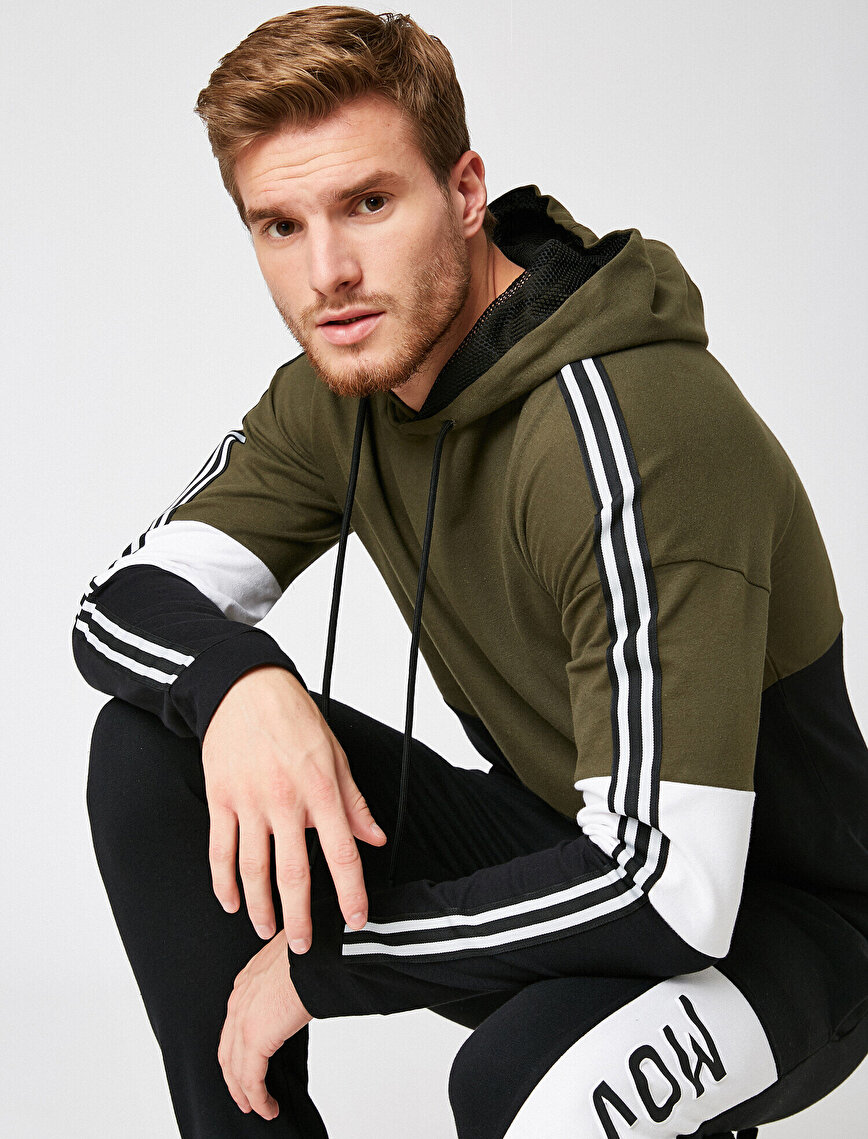 Striped Hooded Cotton Sweatshirt
