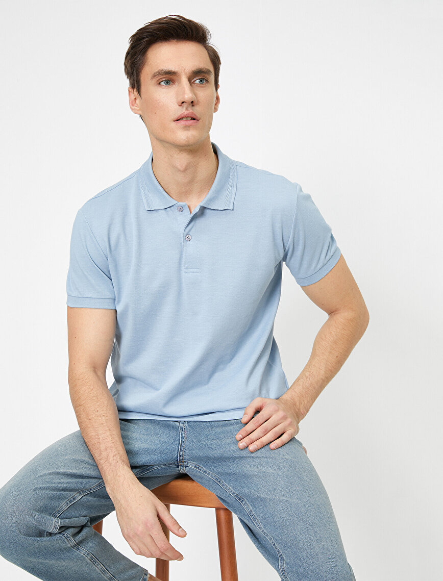 Polo Yaka Yaka Ucu Örgü Detaylı Slim Fit Tişört