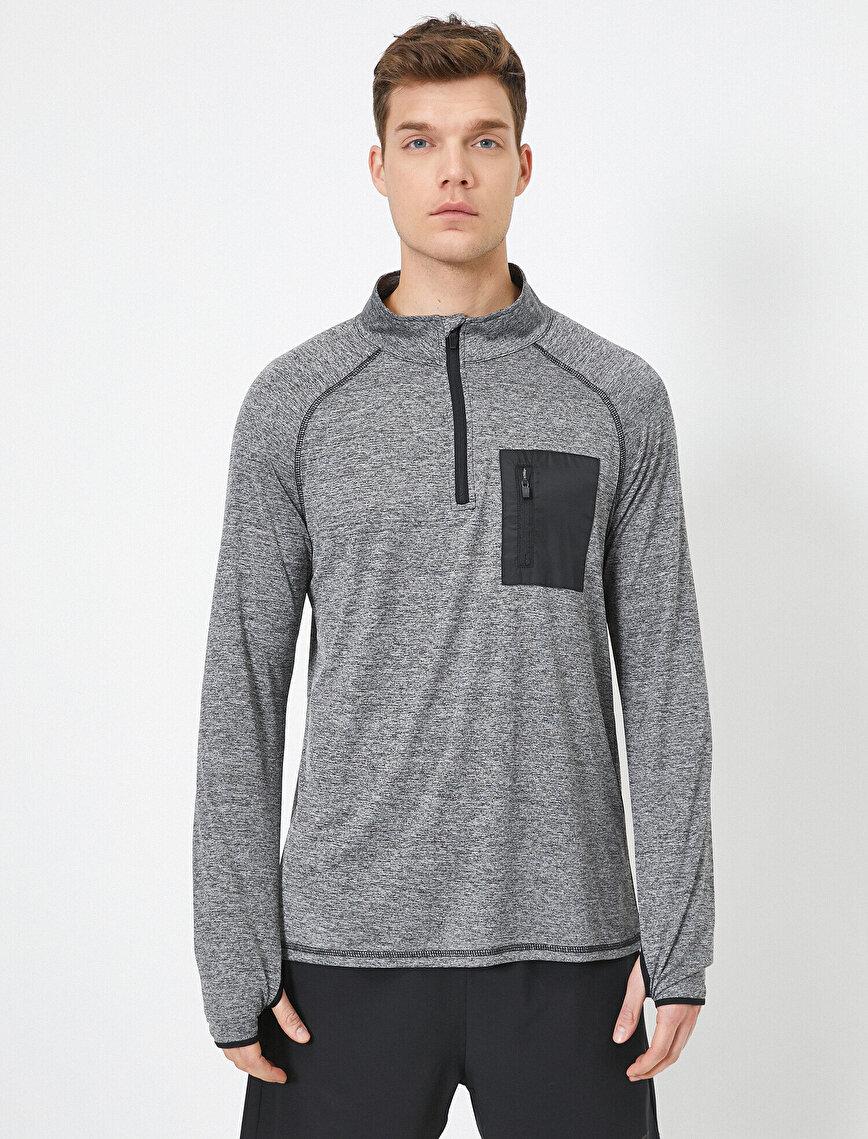 Fermuar Detaylı Yüksek Yaka Cep Detaylı Sweatshirt