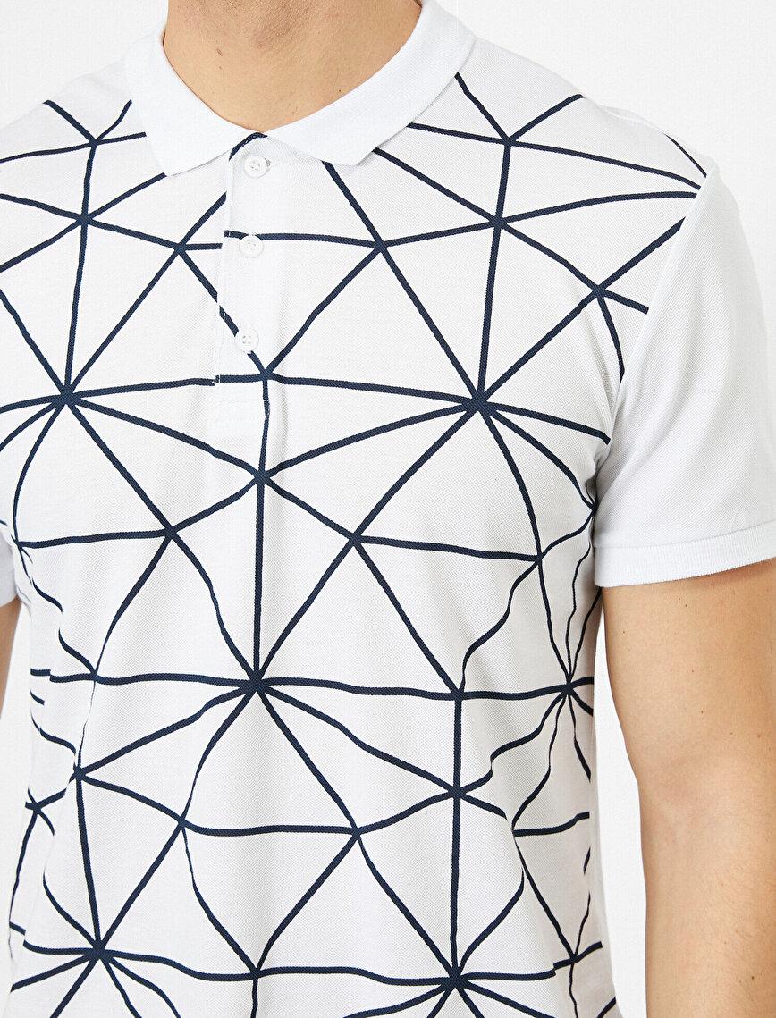 Polo Yaka Çizgili Desenli Baskılı Slim Fit Tişört