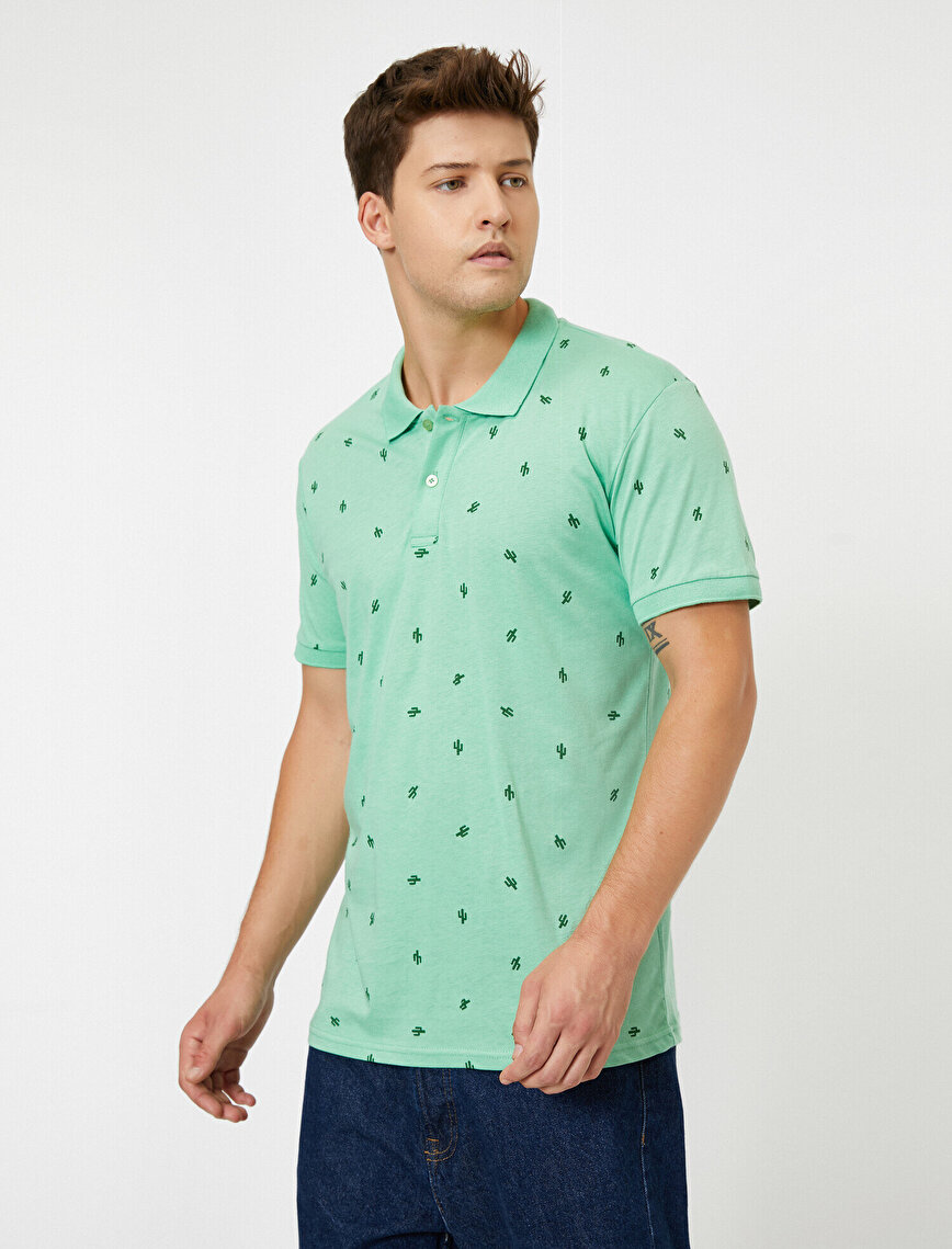 Patterned Polo Neck Short Sleeve T-Shirt