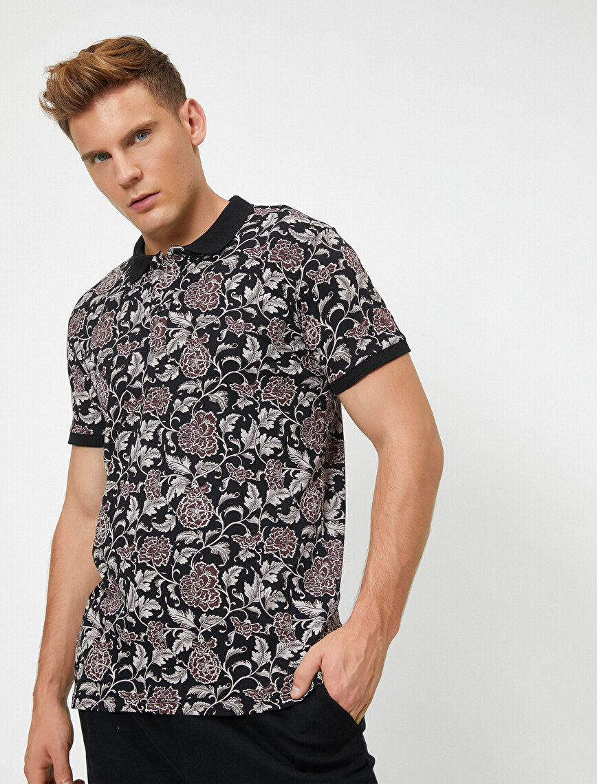 Polo Neck Short Sleeve Floral Printed T-Shirt