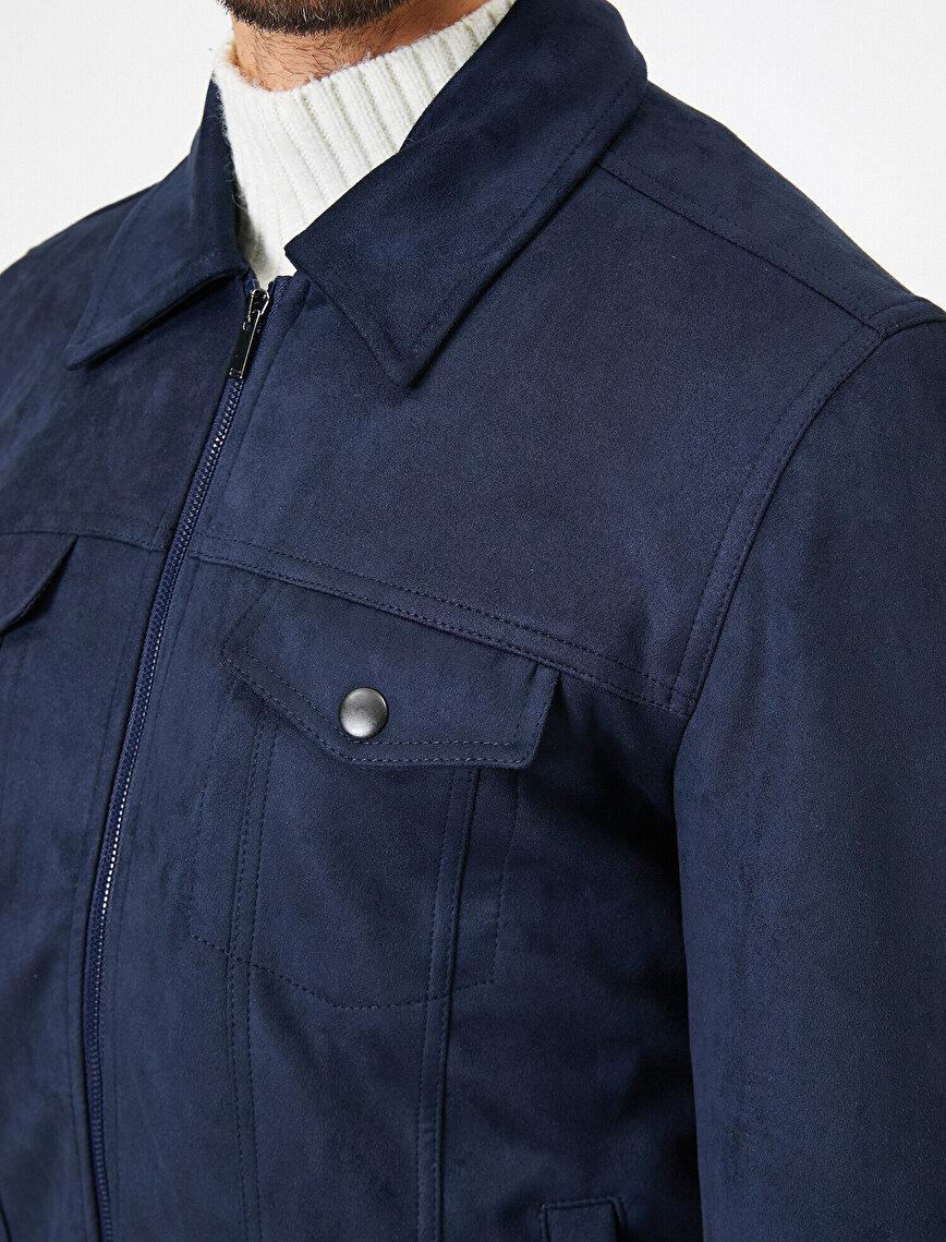 Pocket Detailed Zipper  Suede Coat