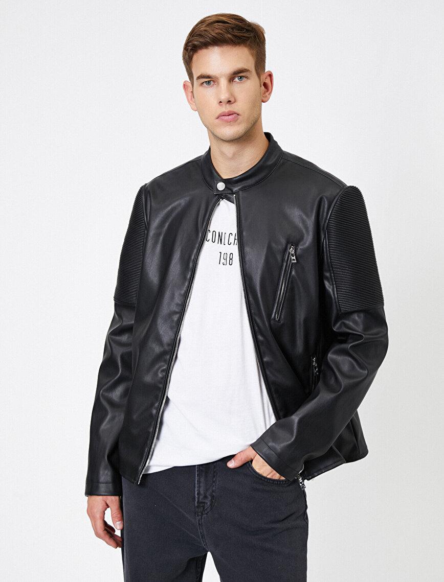 Mandarin Collar Pocket Detailed Zipper Leather Look Coat