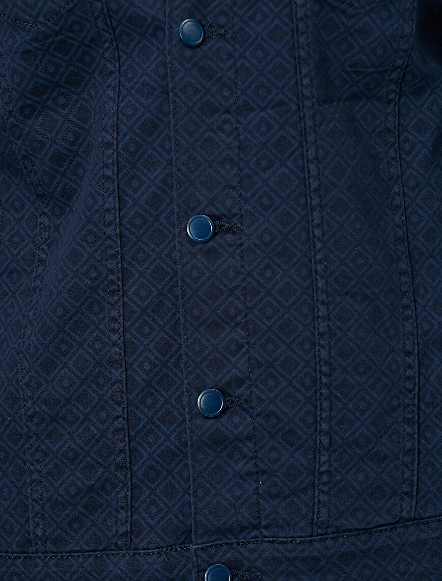 Pocket Button Detailed Patterned Cotton Jean Jacket