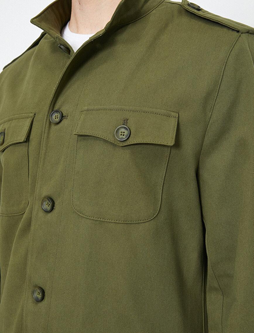 Mandarin Collar Long Sleeve Pocket Detailed Coat