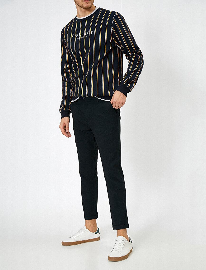 Cep Detaylı Kareli Slim Fit Pantolon