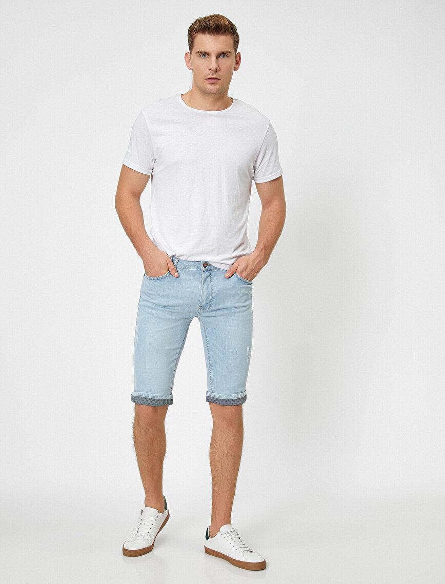 Normal Bel Cep Detaylı Casual Jean Şort