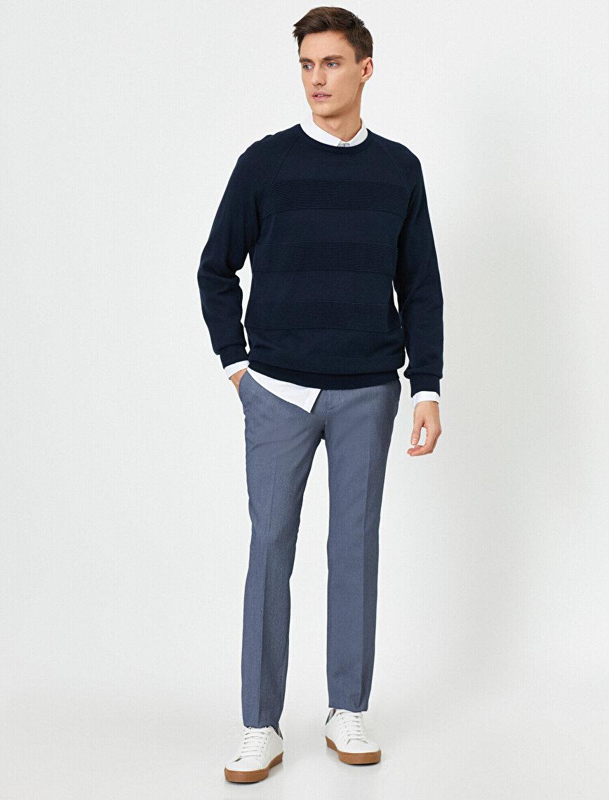 Cep Detaylı Desenli Slim Fit Pantolon