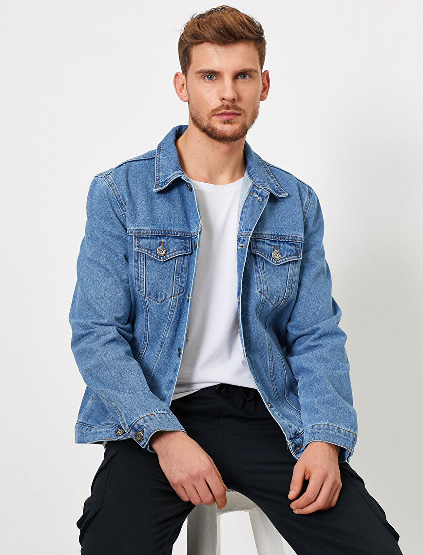 Pocket Detailed Button %100 Cotton Jean Jacket