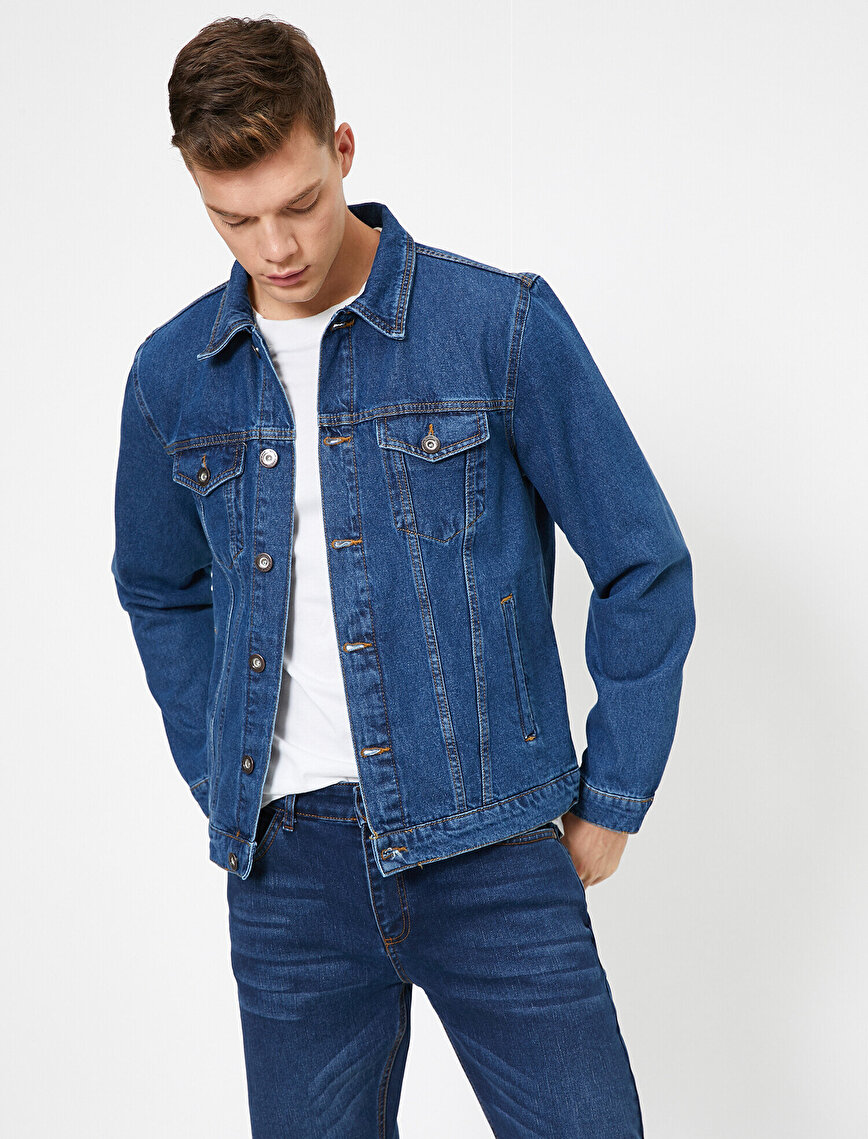 Düğmeli Cep Detaylı %100 Pamuk Jean Ceket
