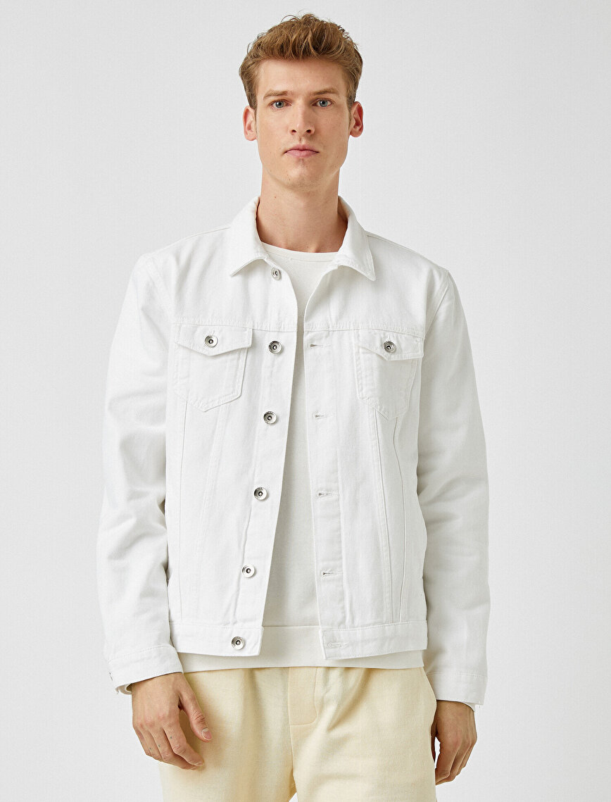 Klasik Yaka Cepli Düğmeli Pamuklu Jean Ceket