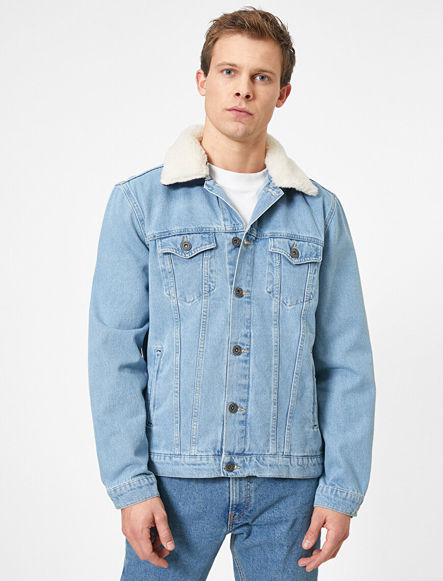 Yakası Suni Kürklü Düğmeli Yakası Çıkarılabilir Jean Ceket