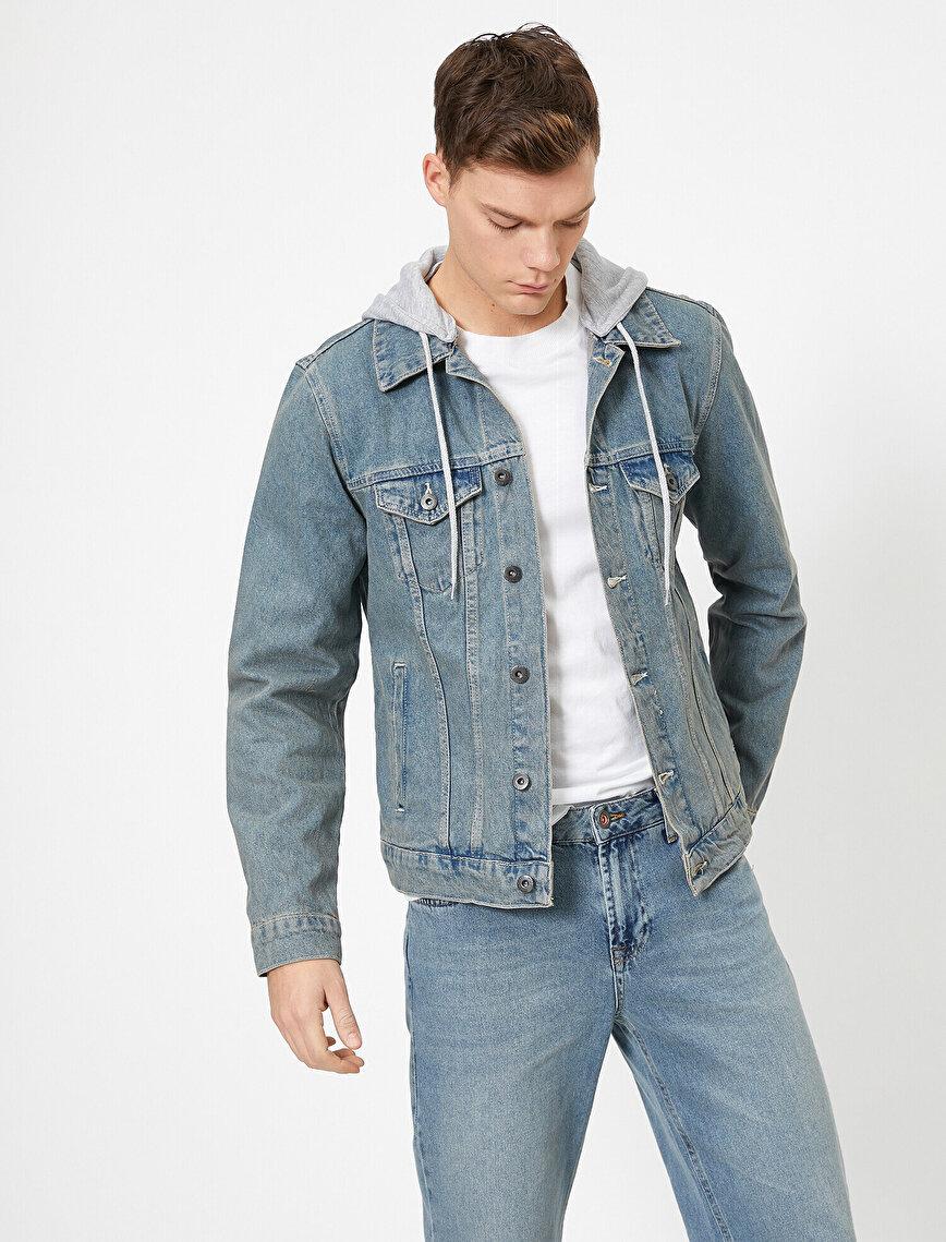 Çıkarılabilir Kapüşonlu %100 Pamuk Jean Ceket