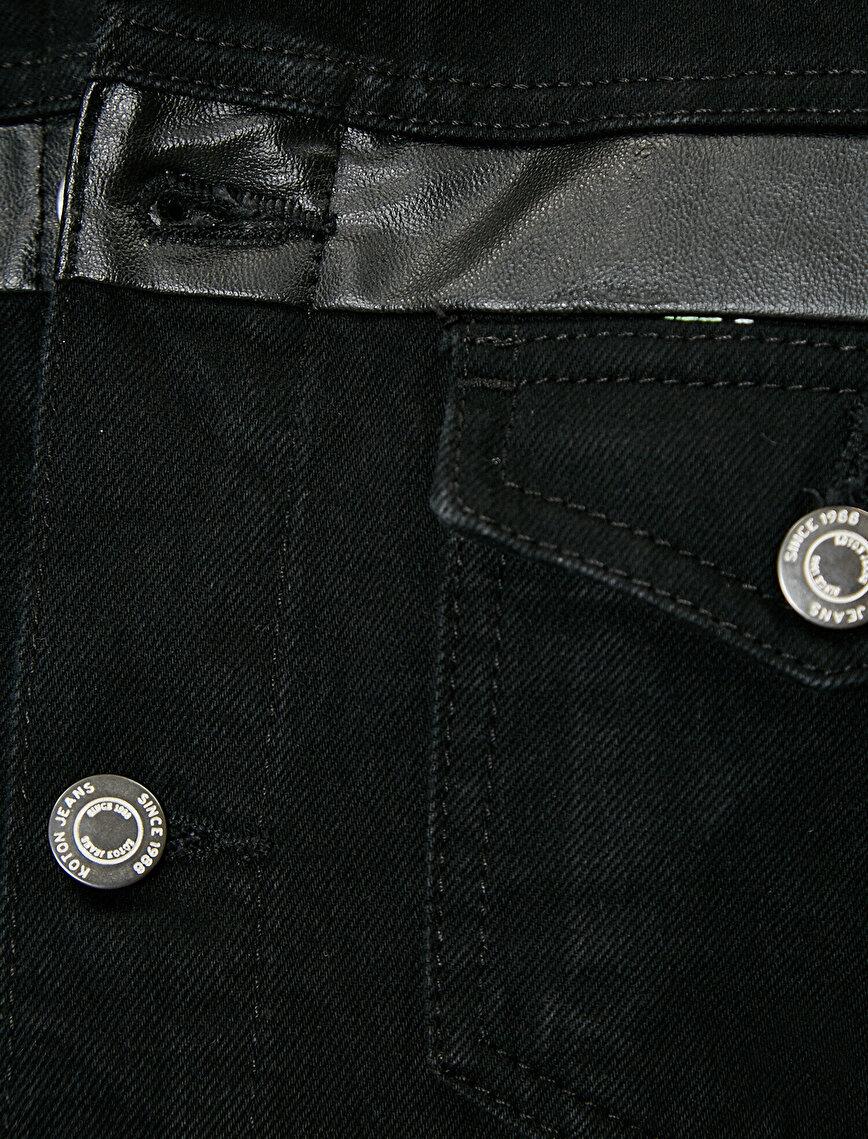 Düğmeli Suni Deri Detaylı %100 Pamuk Jean Ceket