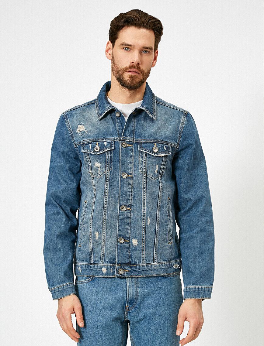 Düğmeli Yıpratma Detaylı %100 Pamuk Jean Ceket