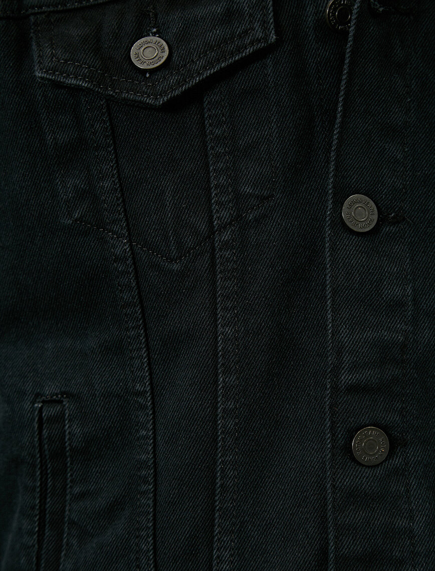Çıkarılabilir Kapüşonlu Düğmeli %100 Pamuk Jean Ceket