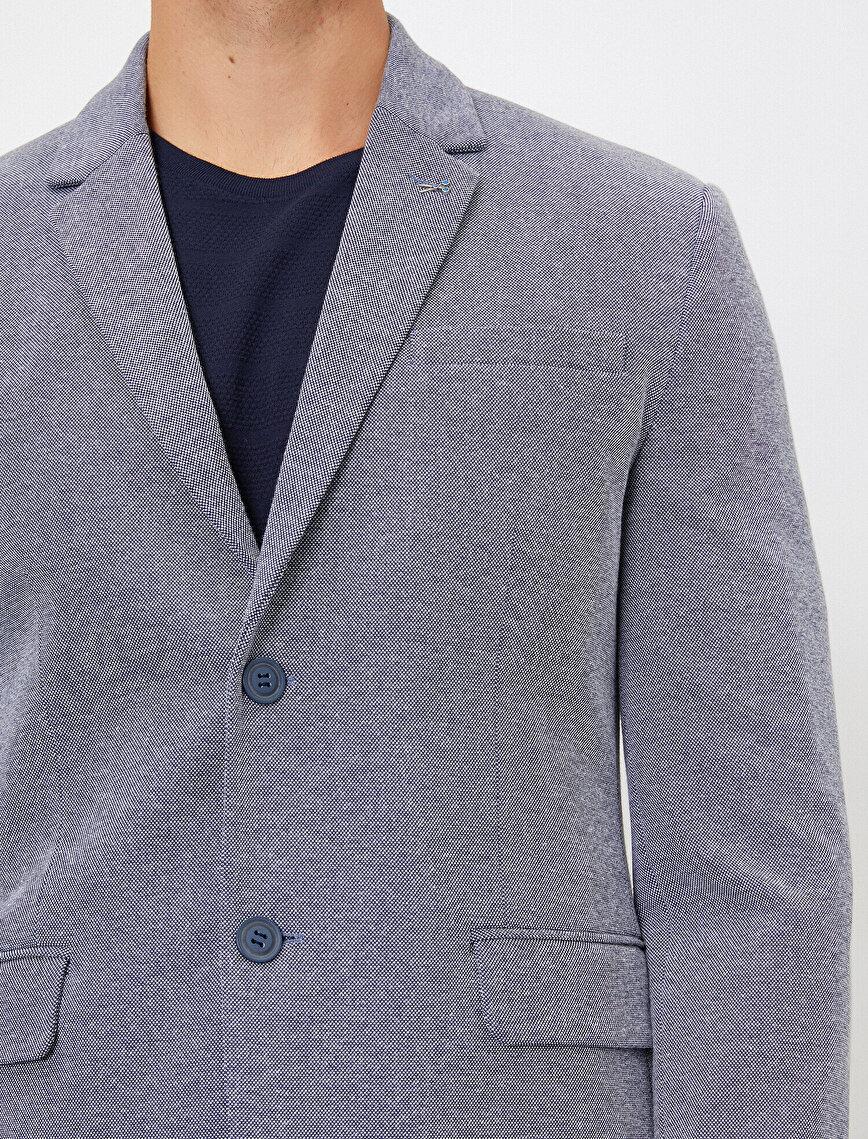 Cep Detaylı Düğmeli Blazer Ceket